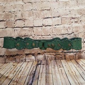 Chloe Dark Green Leather Belt Size 80